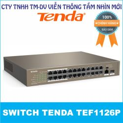 Switch PoE Tenda TEF1126P (với 24 port PoE, 1 port Gigabit 1.0Gbps và 1 port 1G FSP)